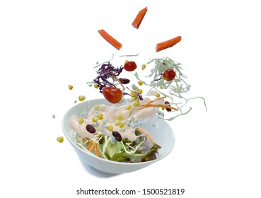 crab stick and vegetable with wholegrain salad dressing mayonnaise on bowl in white background
