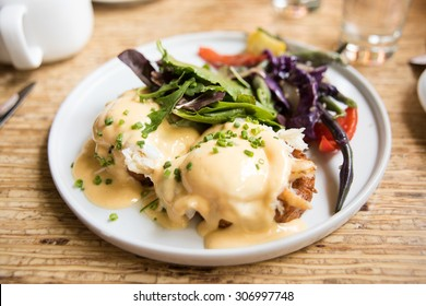 Crab and Sweet Potato Egg Benedict with Salad