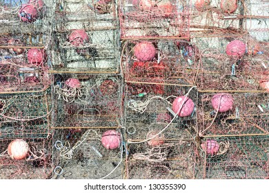 Crab traps stacked near bay in Florida. Would make a great seafood background image.