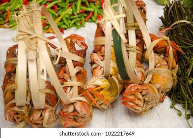 Crabs  on market stall in Luang Prabang, Laos.