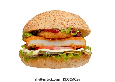 Crabsburger isolated on white background. Delicious sandwich fast food. Crab meat burger.