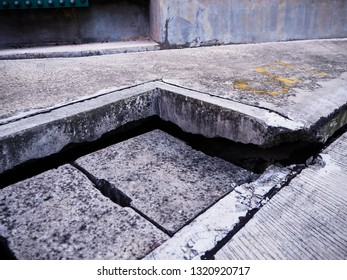 Crack in building foundation from mortar subsidence in power plant.