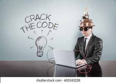 Crack the code text with vintage businessman using laptop