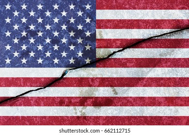 Crack in concrete with the flag of the United States of America