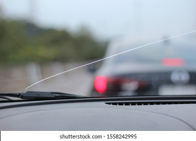 Crack glass car, straight broken glass.