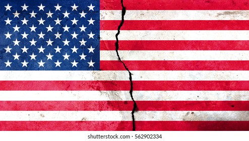 A crack in the monolith. Flag of the United States.