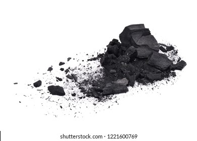 Crack Natural wood charcoal isolated on white background