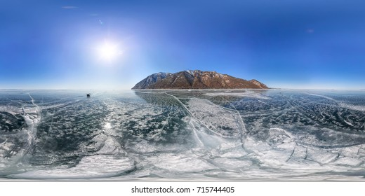 crack on the ice of Lake Baikal from Olkhon. Spherical 360 vr 180 degree panorama.