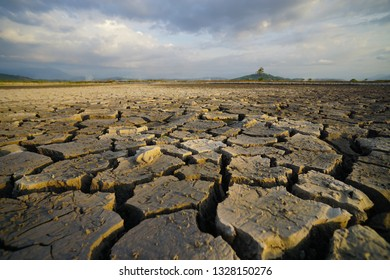 Crack soil during drought dry season at countryside in borneo.