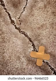 crack whit sticking plaster