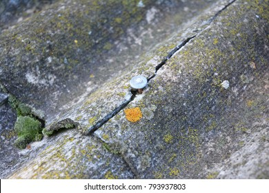 Cracked asbestos sheets old roof. Asbestos Shingles Repair and Removal. House asbestos roof removal.
