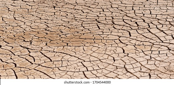 Cracked and barren ground. wet and cracks of the dried soil in arid season