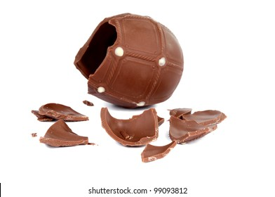 cracked chocolate egg isolated on white