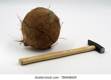 cracked coconut with hammer