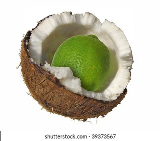 cracked coconut with a lime inside