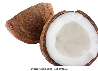Cracked coconut on a white background.