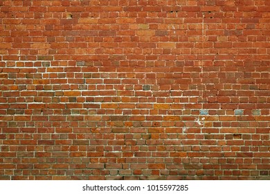 Cracked Dark Red Old Brick Wall Texture Damaged Brown Abstract Blank Stonewall Background Ruinous