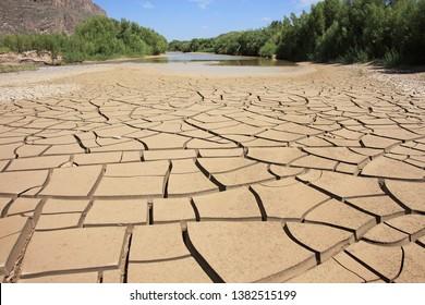 Cracked dried up mud at Rio Grande River, Santa Elena Canyon, Texas