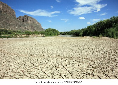 Cracked dried up mud in the Rio Grande River by the Santa Elena Canyon, Big Bend National Park, Texas, USA
