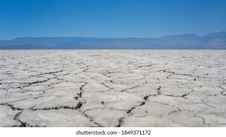 cracked earth in the Alvord Desert, Oregon. View of the Alvord Lake playa