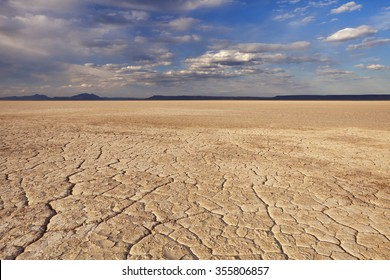Cracked earth in the Alvord Playa, a dry lakebed in the Alvord Desert in southeastern Oregon, USA.