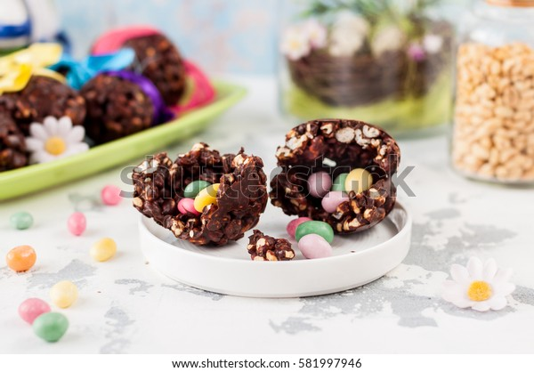 Cracked Easter Chocolate and Puffed Wheat Egg with Hidden Surprise Candies