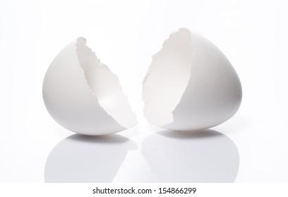 a cracked eggshell on white background