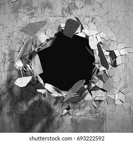 Cracked explosion concrete wall hole abstract background. 3d render illustration