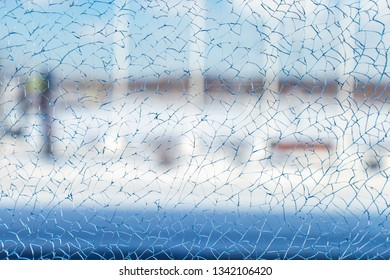 cracked glass background close up
