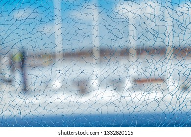 cracked glass background closeup