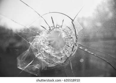 Cracked glass black and white