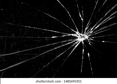 cracked glass isolated on black background
