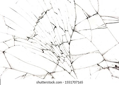 cracked glass isolated on a white background.