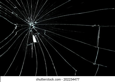cracked glass on black background