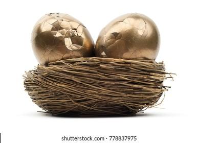 Cracked Gold Nest Eggs