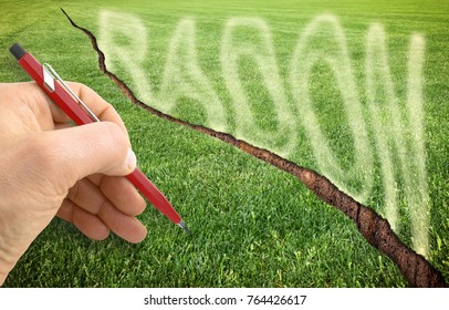 A cracked green mowed lawn with radon gas escaping - concept image with hand writing over it
