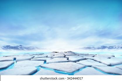 cracked ice floe floating on blue water mountain lake, seasonal winter landscape digital illustration