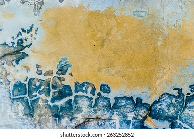cracked and peeling paint and grunge old wall with textur