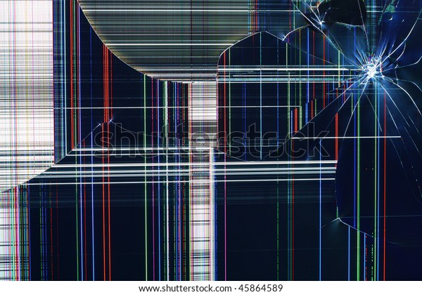 Cracked as a result of blow modern liquid crystal LCD RGB TV display