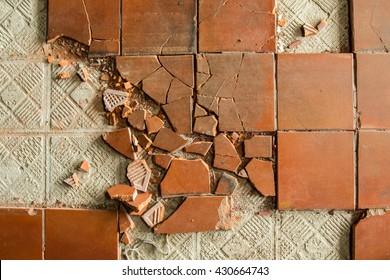 Cracked retro tiles floor