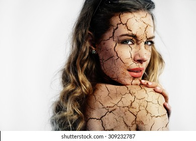 Cracked skin. Cosmetic treatment concept, double exposure