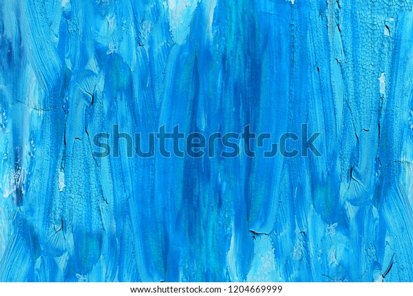 Cracked vibrant blue oil painted real texture
