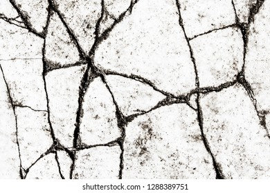 Cracked white paint asphalt road texture.