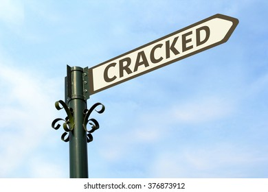 CRACKED WORD ON ROADSIGN