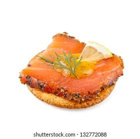 Cracker with smoked salmon