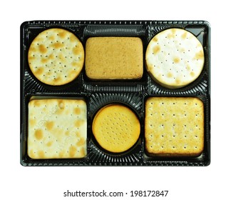 Crackers assortment isolated against white