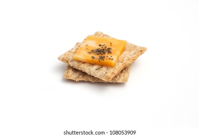 Crackers with cheese isolated