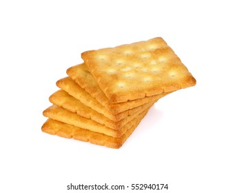 crackers isolated on white background. Dry cracker cookies isolated