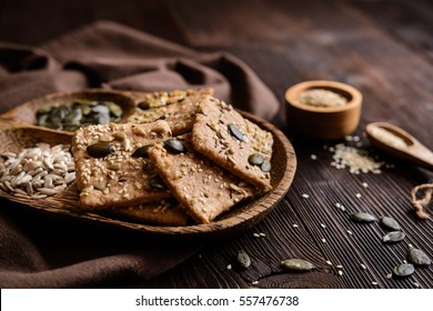Crackers made of spelt flour and various types of seeds (pumpkin, sunflower, sesame, flax and hemp)