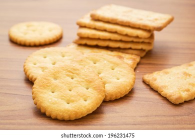 Crackers on wooden background